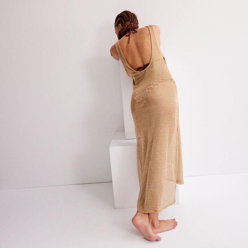 robe mi-longue métallisée transparente - beige;