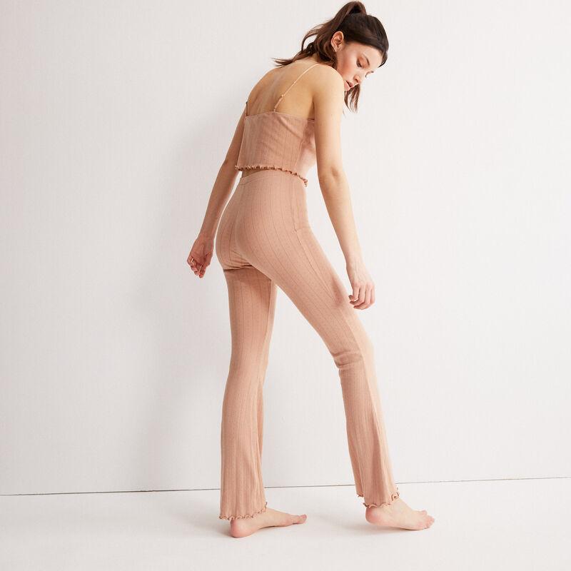 pantalon flare maille pointelle  - beige nude;