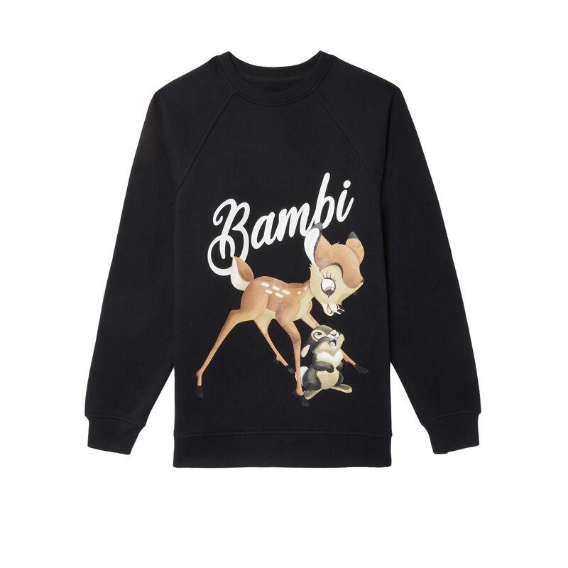 sweat imprimé bambi - noir;