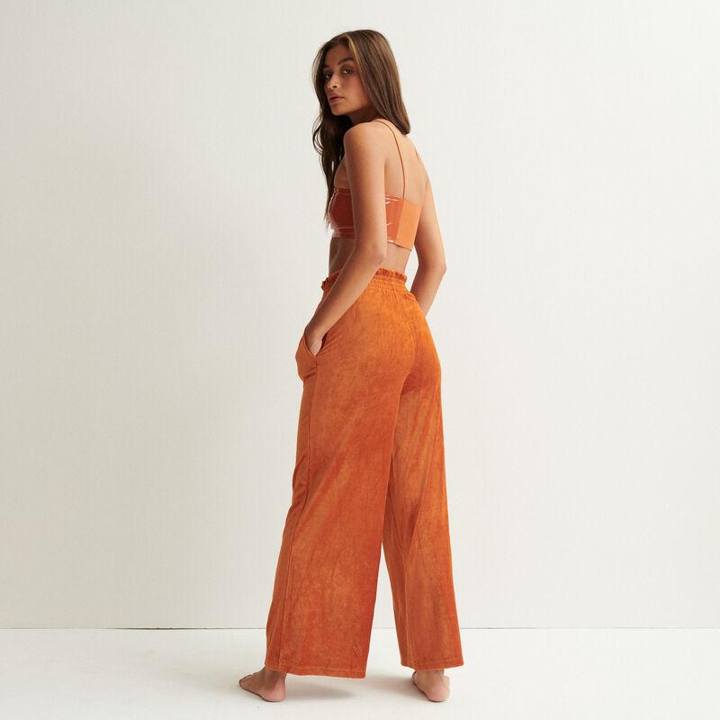 pantalon ample en velours - marron;