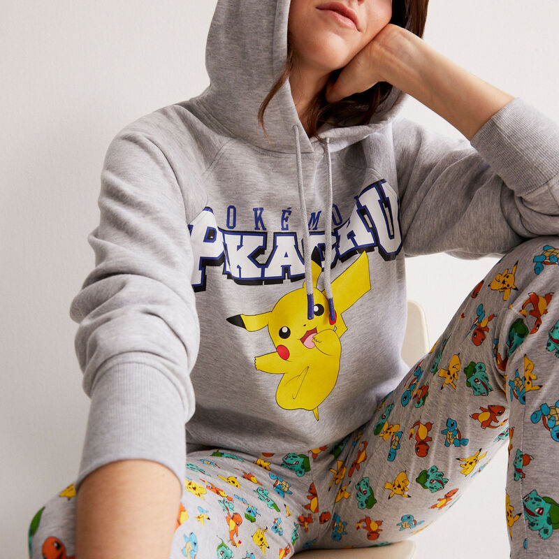 sweat Pikachu à message - gris;