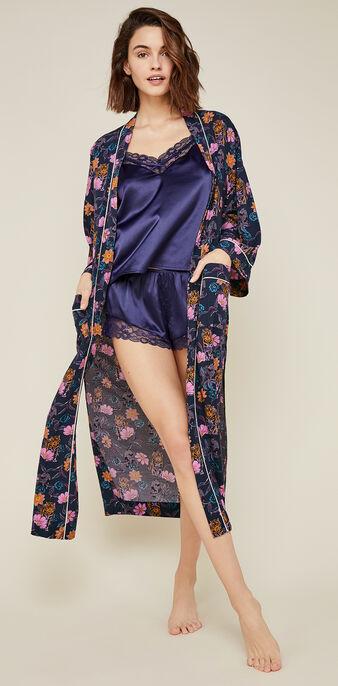 Kimono bleu foncé floritriz blue.
