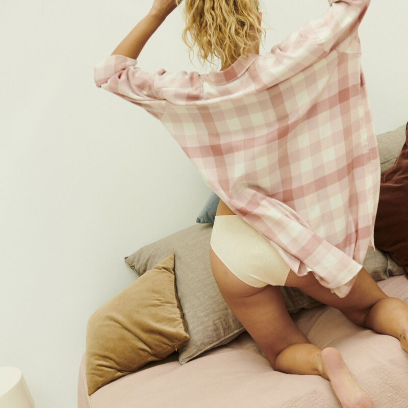 chemise oversize à carreaux - rose;