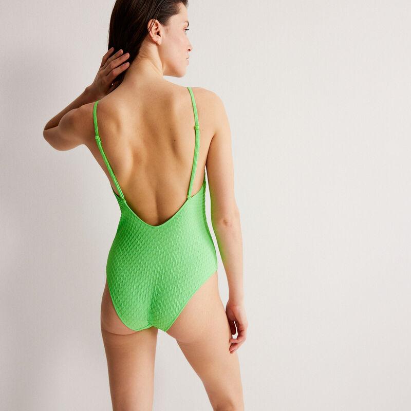 maillot de bain une pièce décolleté plongeant - vert;