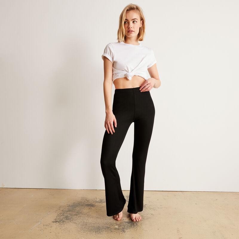 pantalon flare uni - noir;