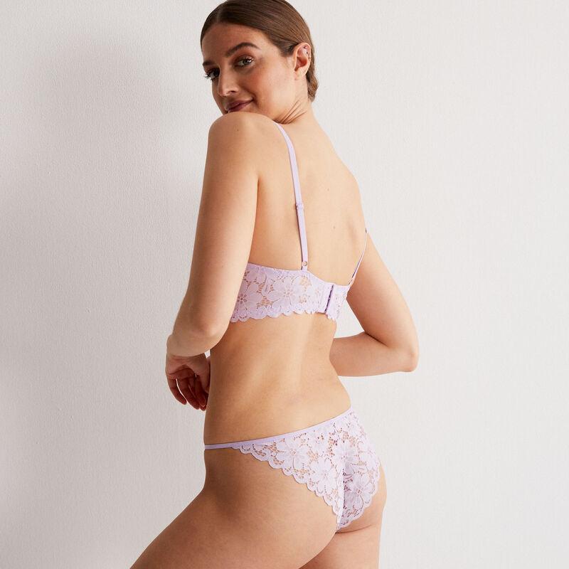 culotte dentelle brodée - lilas;