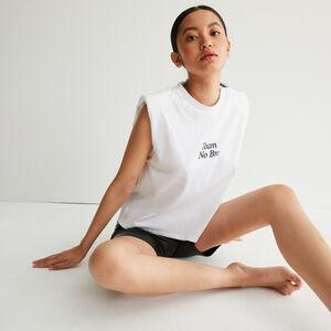 top à message et épaules structurées - blanc