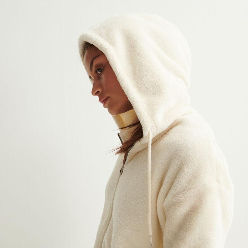 veste en polaire à zip anneau et capuche - crème;