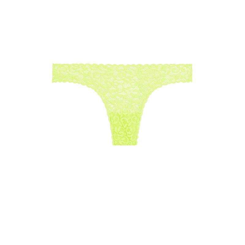 Tanga dentelle fleurie - jaune fluo;
