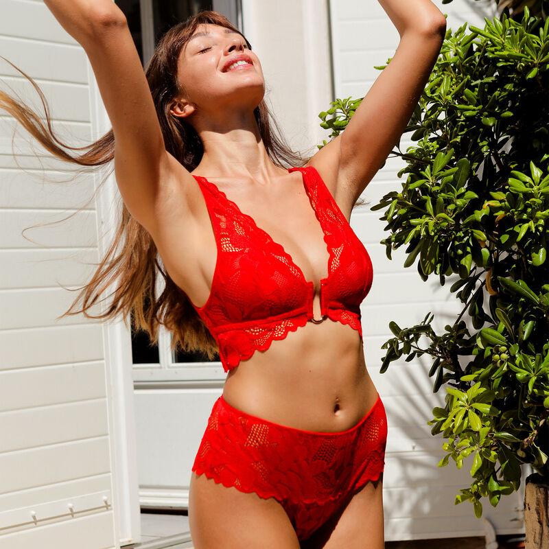 Culotte taille haute en dentelle - rouge;