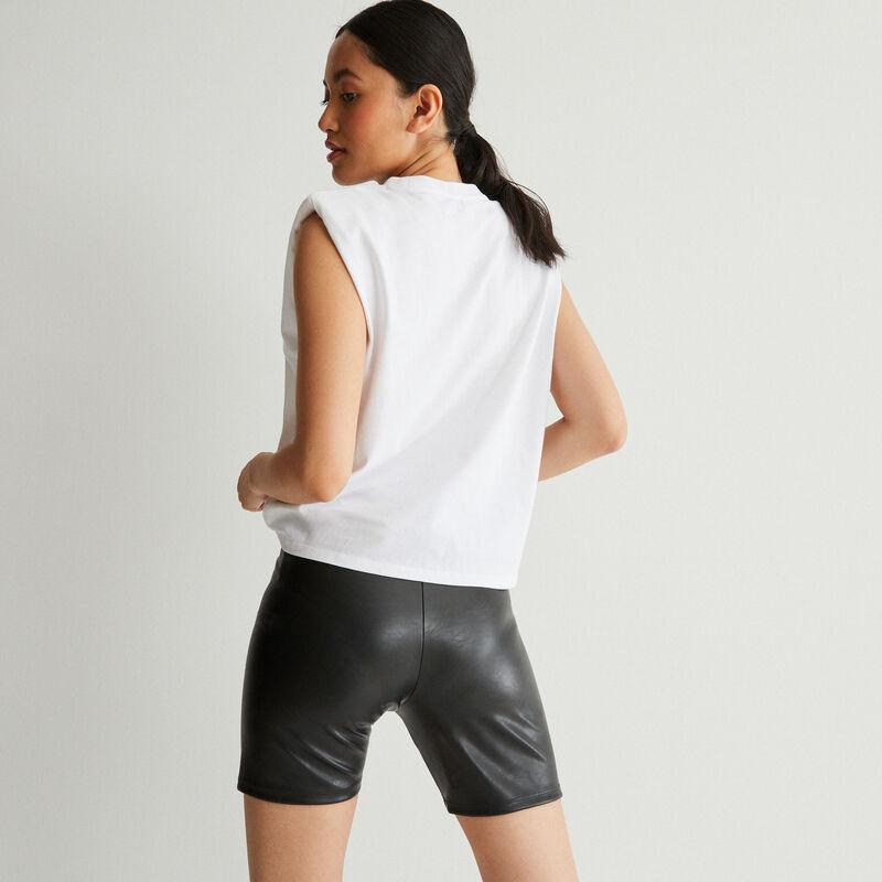 top à message et épaules structurées - blanc;