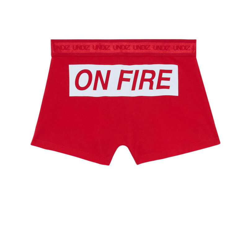 boxer à message on fire - rouge;