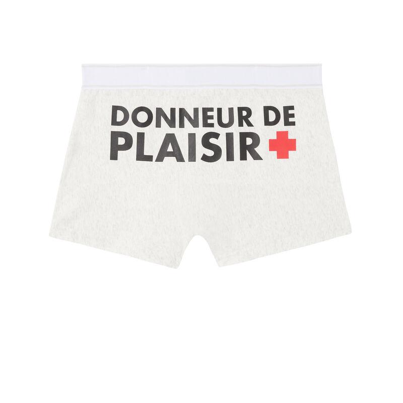 boxer à message donneur de plaisir - gris clair;