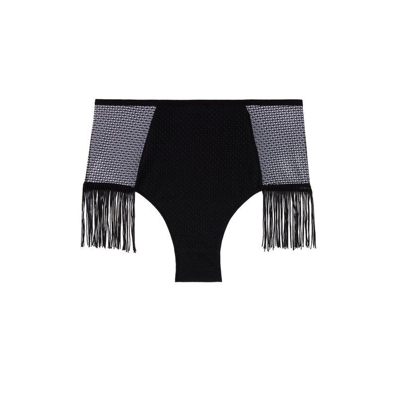 culotte taille haute dentelle ajourée à franges - noir;