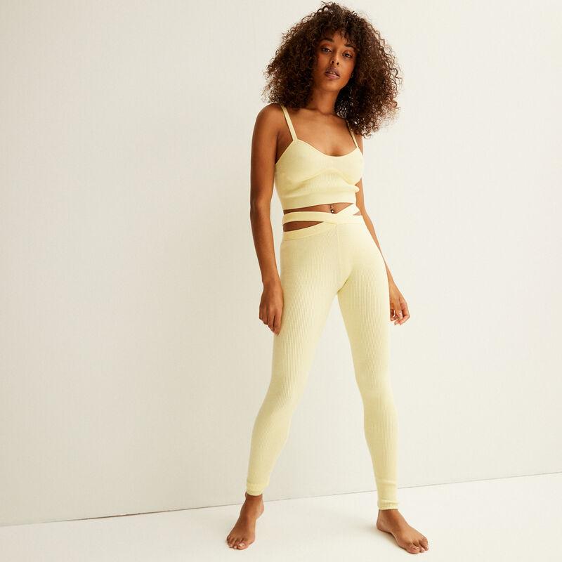 legging en maille détail liens - jaune pastel;