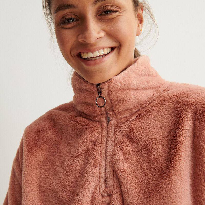 sweat en polaire à col zippé - rose nude;