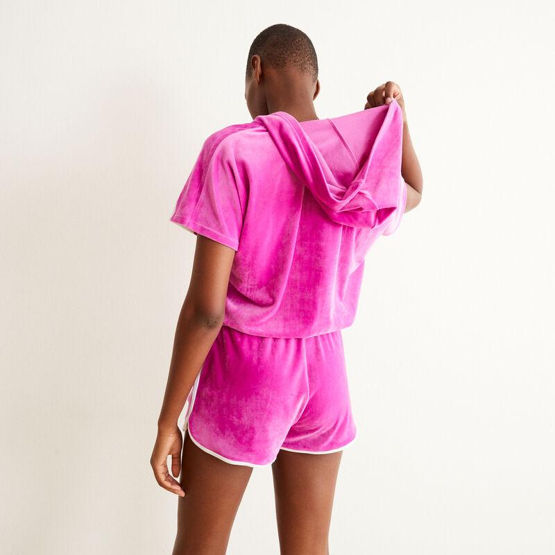 combishort en velours zippée à capuche - rose;