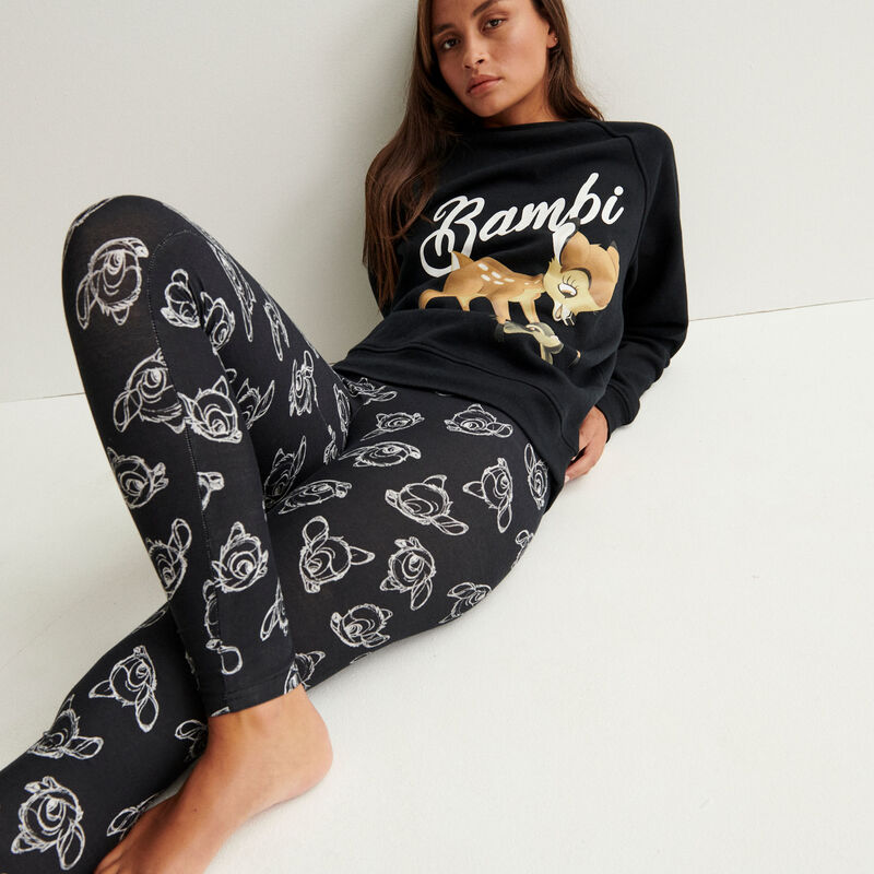 legging à motifs bambi - noir;
