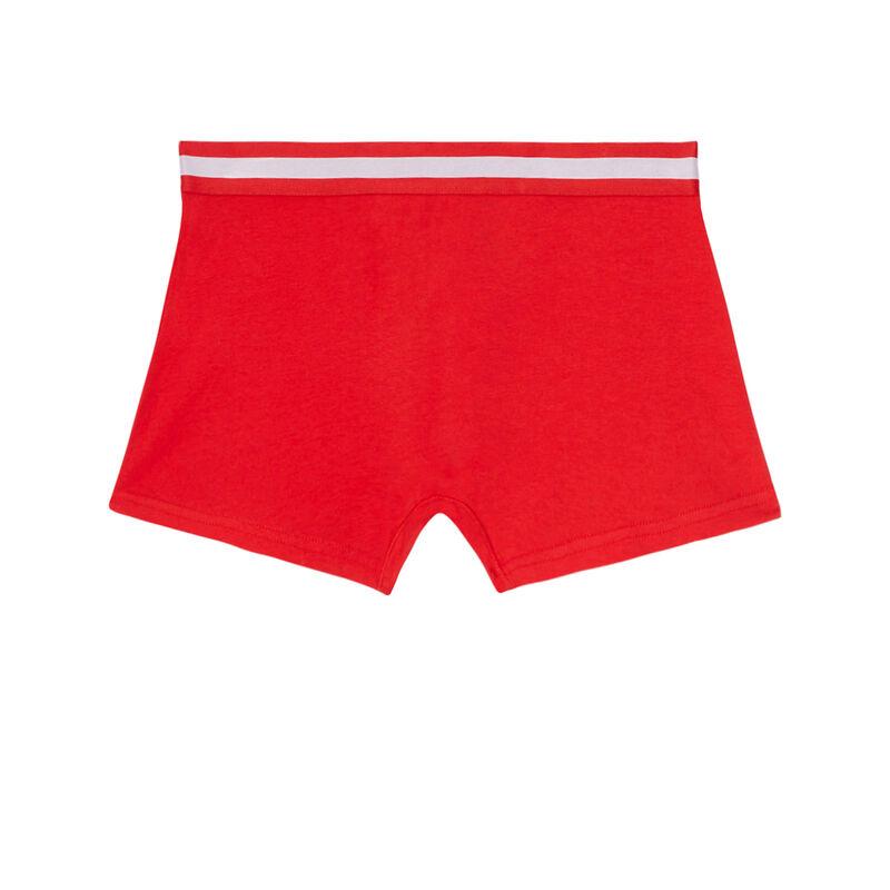 boxer uni en coton - rouge;