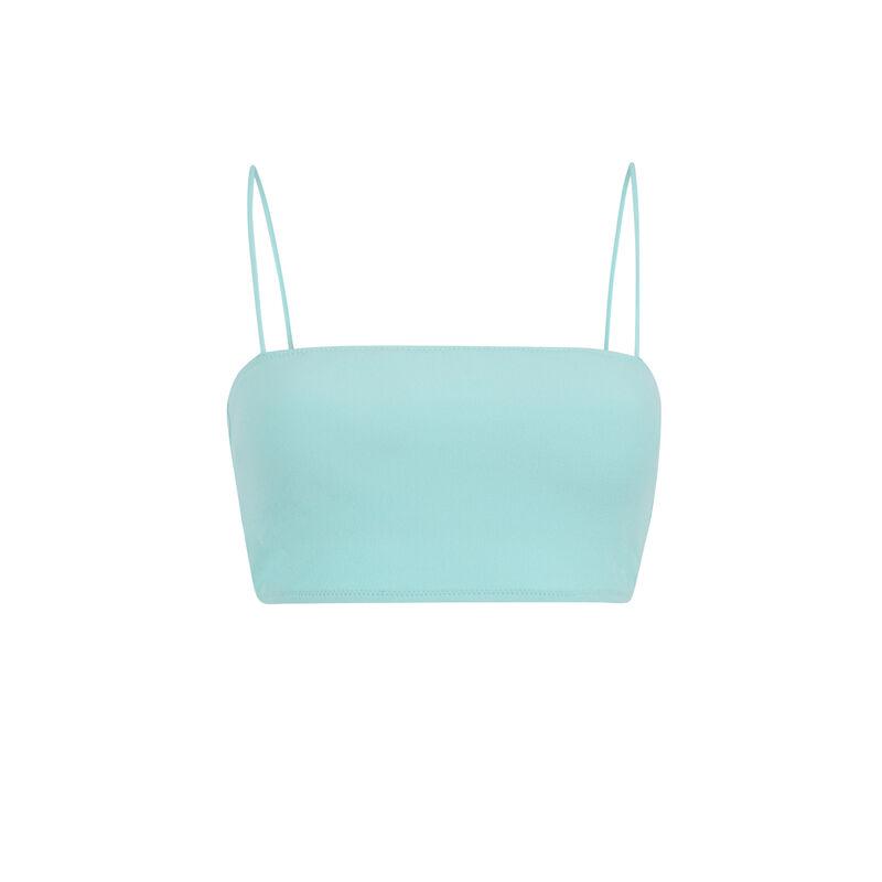 Haut de maillot de bain bandeau uni - bleu turquoise;