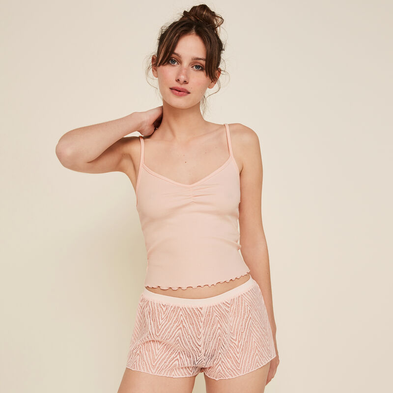 Short rose poudré dentebiz;