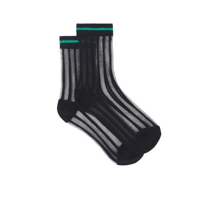 Chaussettes détail transparence polariz noir.