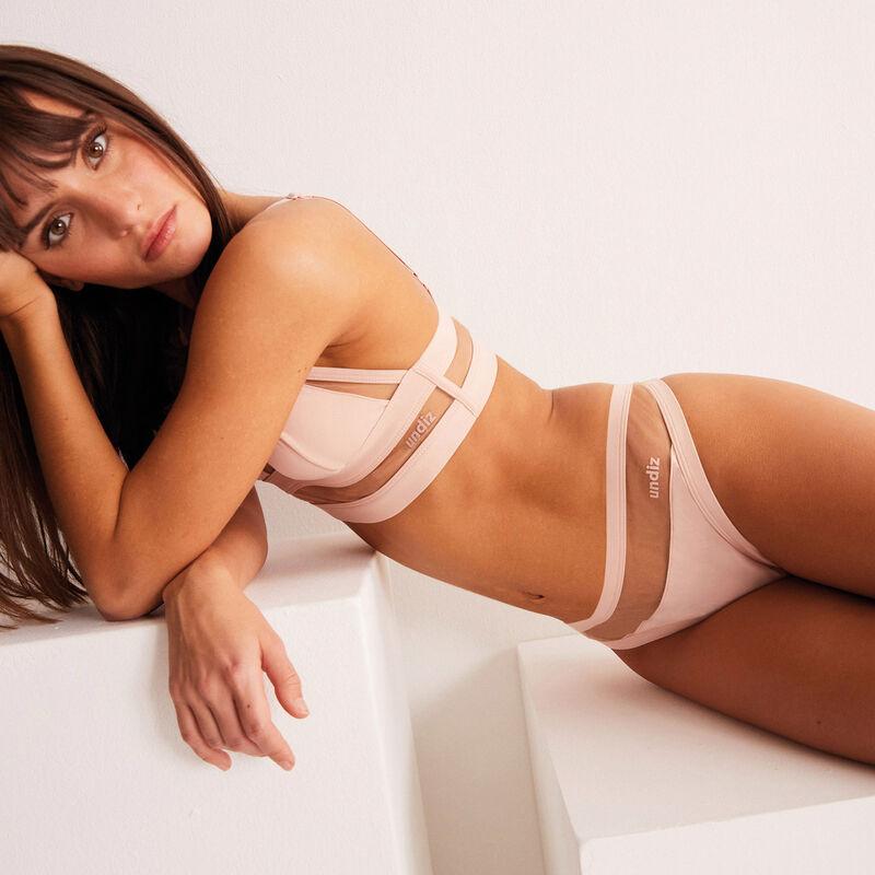 string découpe résille transparente - rose nude;