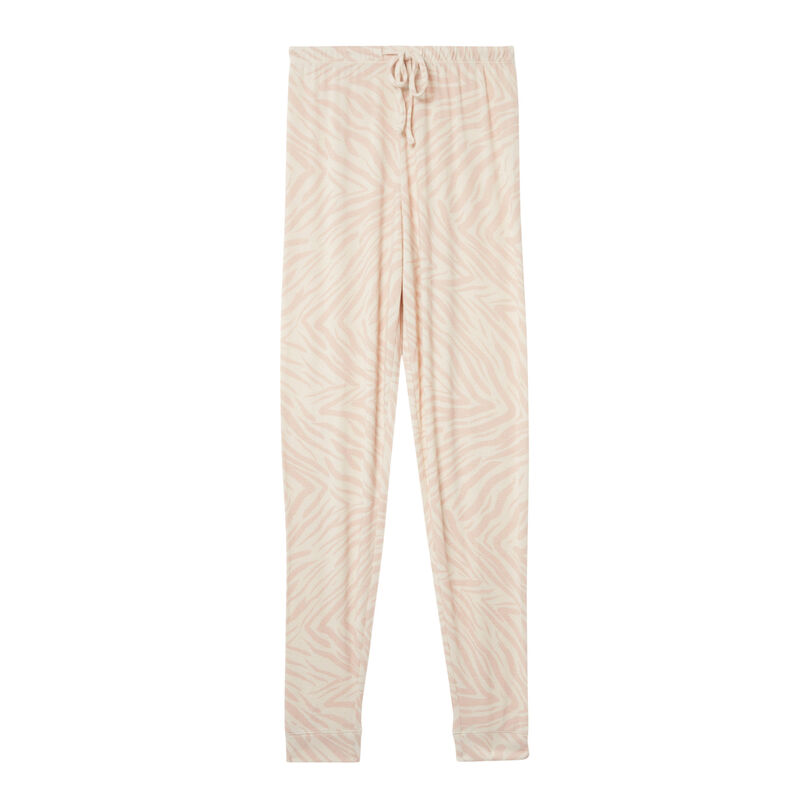 pantalon effet zébré - rose nude;