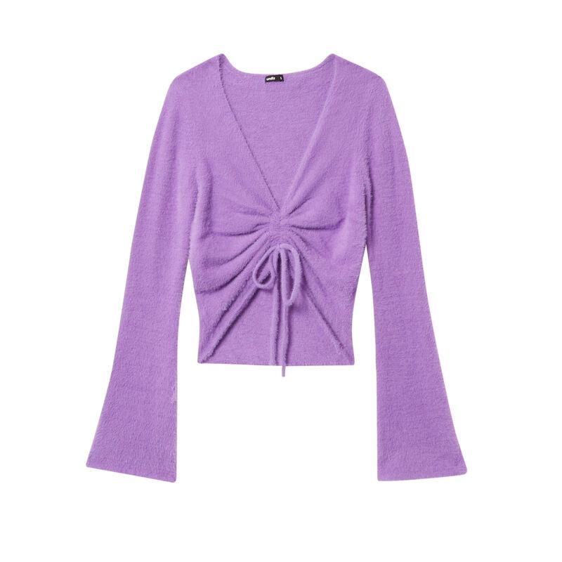 crop top noué en polaire - violet;
