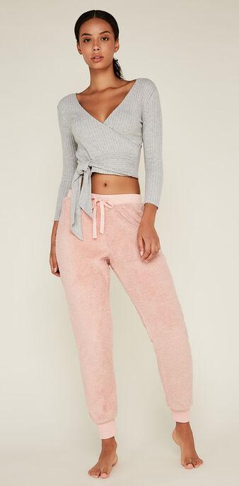 Pantalon rose ribpoiliz pink.