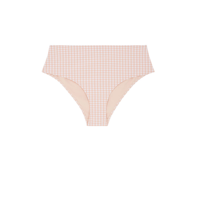 Bas de maillot de bain culotte taille haute - rose;