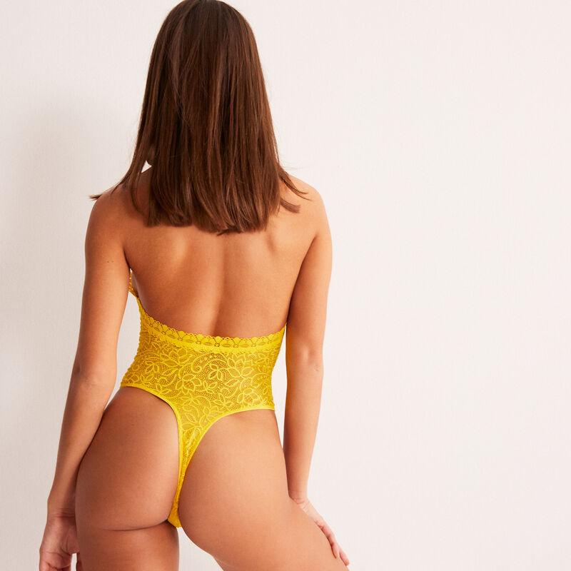body dos nus à détails décolleté - jaune;