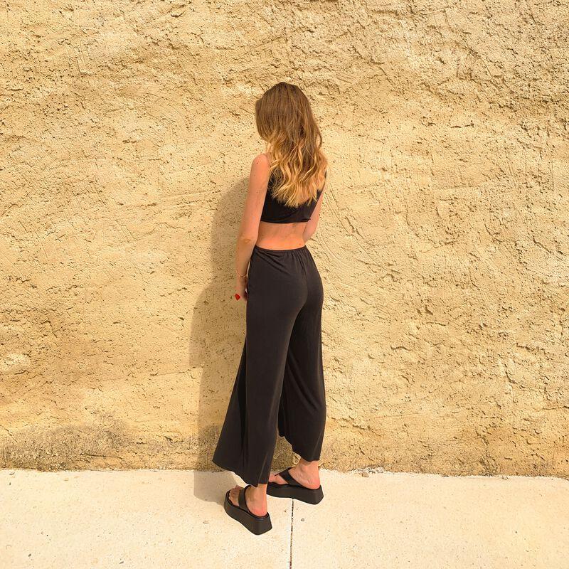 combinaison pantalon détail noeud - noir;