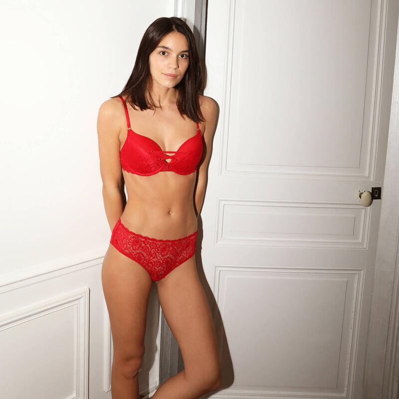 shorty tout en dentelle - rouge;