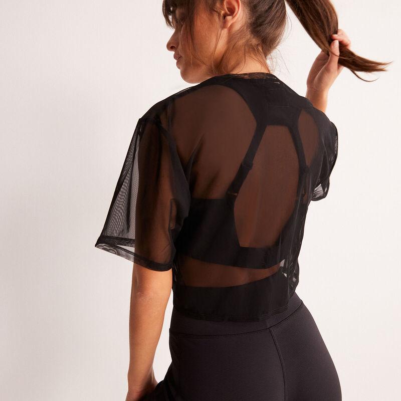 top sport transparent à détail noeud - noir;