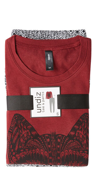 Ensemble de pyjama bordeaux talouiz spain red.