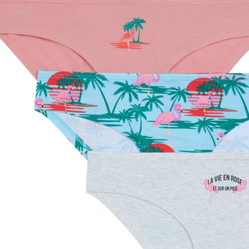 Lot de 3 culotte imprimé palmier - rose clair;