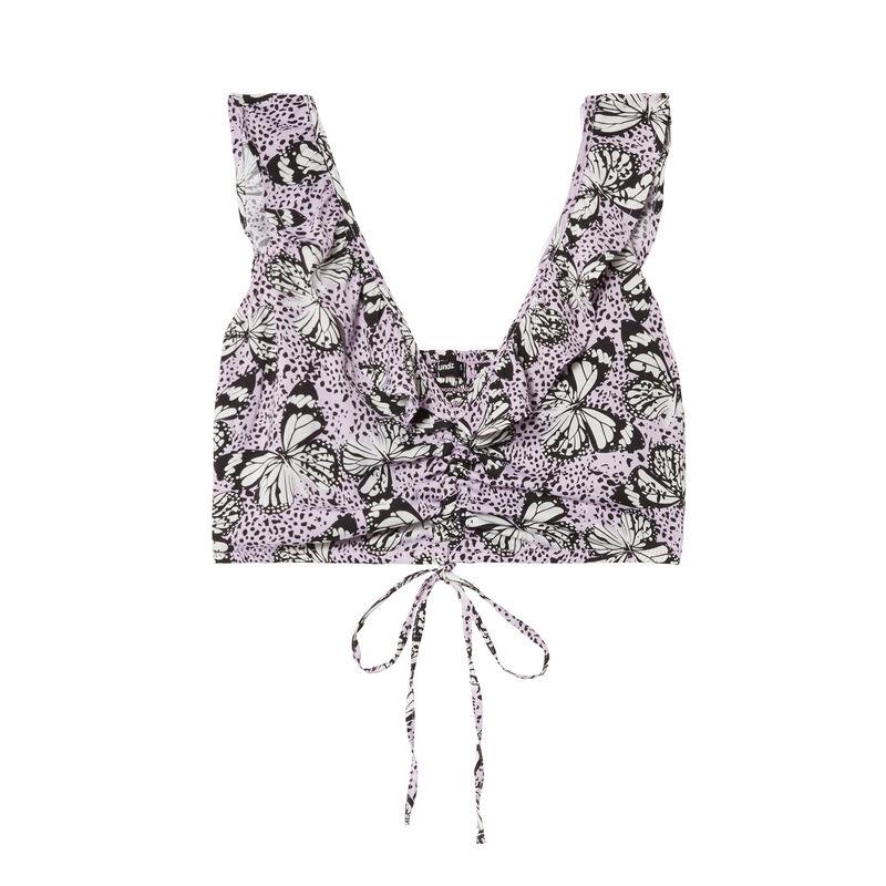 crop top noué à épaules volants et motifs papillons- lilas;