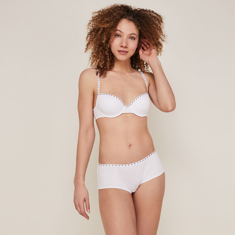 Shorty en coton uni - blanc;