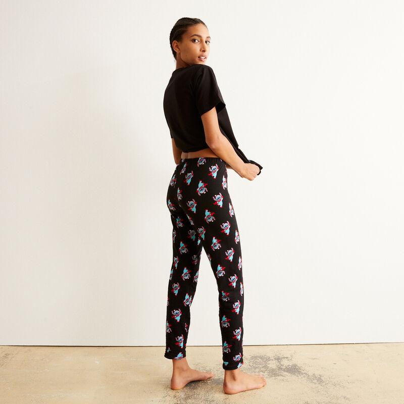 pantalon à motifs Stitch - noir;