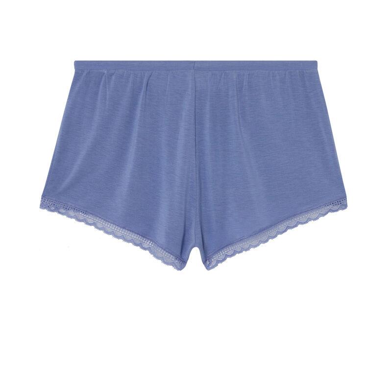 short uni en jersey - bleu ;