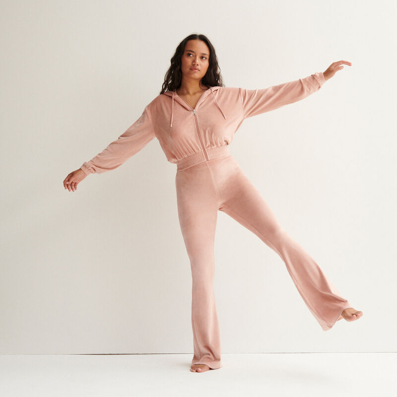 pantalon taille haute pattes def en velours - rose nude;