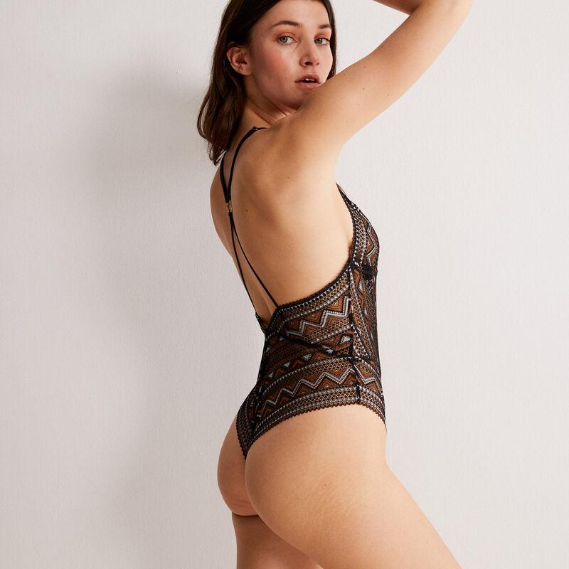 body triangle à dentelle bicolore  - noir;