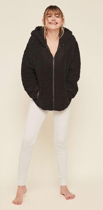 Veste à zip polaire sherpoliz noir.