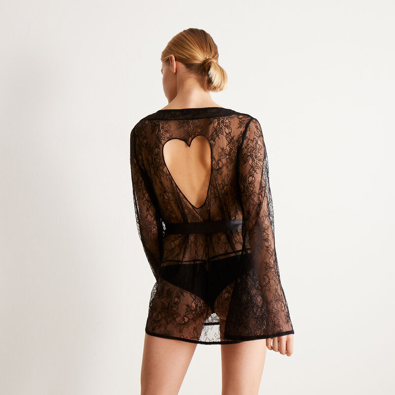 kimono en dentelle ajourée détail coeur - noir;