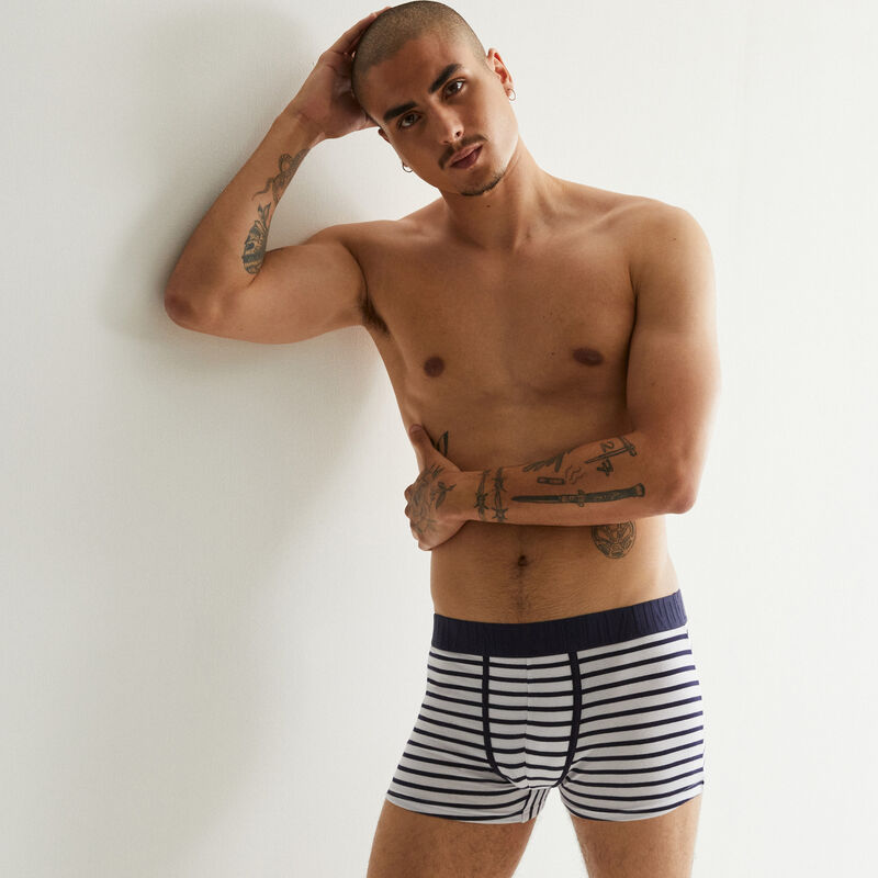boxer à rayures - blanc;