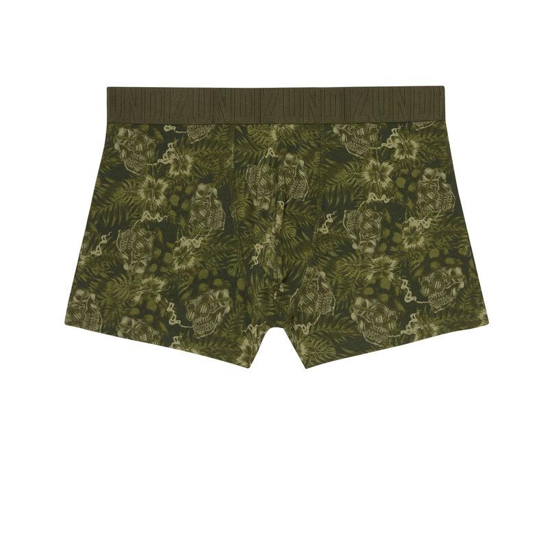 boxer à motifs hibiscus - kaki;