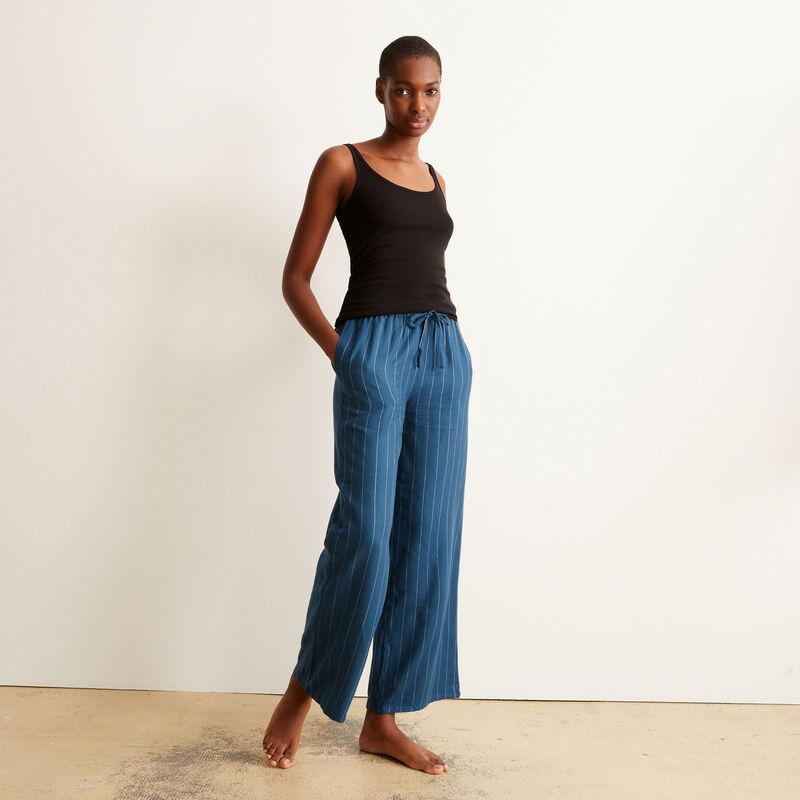pantalon large en flanelle et rayures - bleu ;