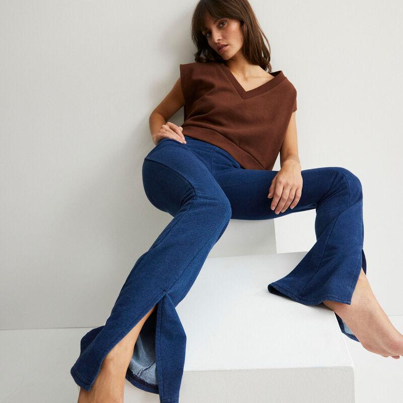 pantalon flare fendu - bleu;