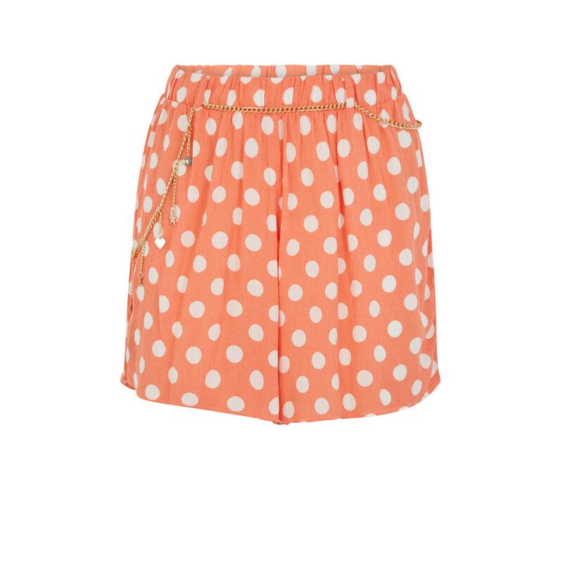 Short imprimé pois - orange;